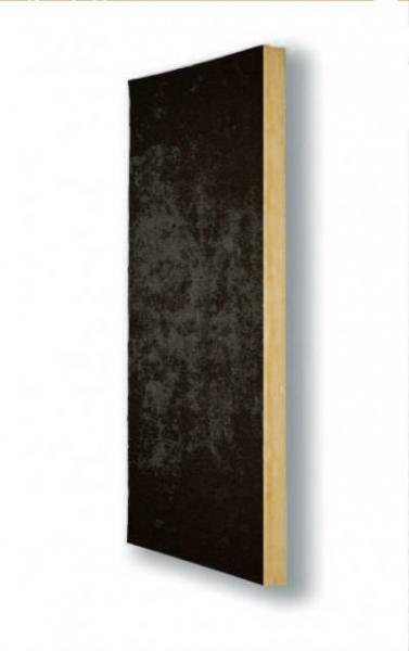 Pannello autoportante in lana di vetro G3, idrorepellente, trattato con resina termo indurente a base di componenti organici e vegetali. X60 VN è rivestito su una faccia con un velo di vetro nero.