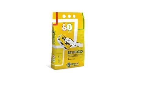 GYPROC 60 PLUS - Miscela di gesso trattato con materiali sintetici e con additivi speciali. Stucco specifico per lastre in gesso rivestito