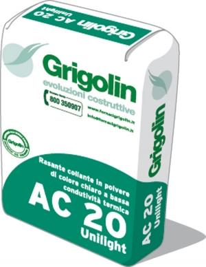 AC 20 UNILIGHT - Rasante collante alleggerito di colore chiaro a bassa conduttività termica